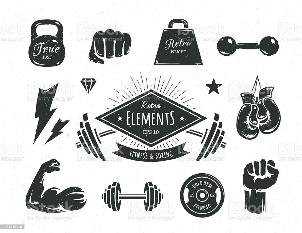 Retro Fitness Elements vector art illustration