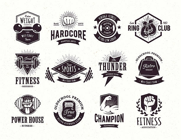 Retro Fitness Emblems vector art illustration