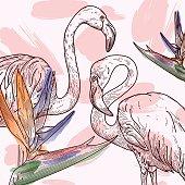 A tropical flamingo print with 80s retro flair