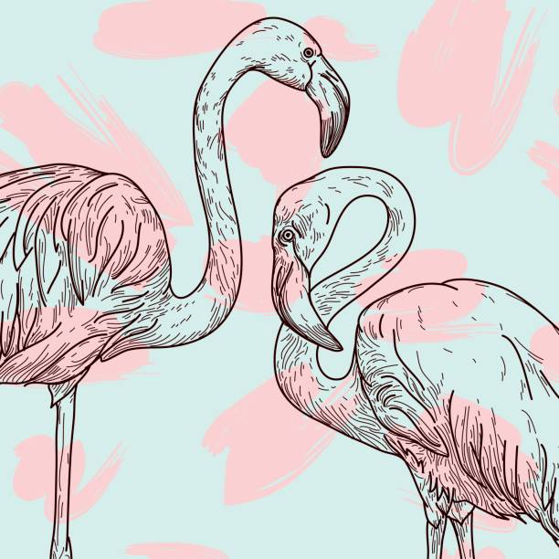 Retro Flamingo Pattern vector art illustration