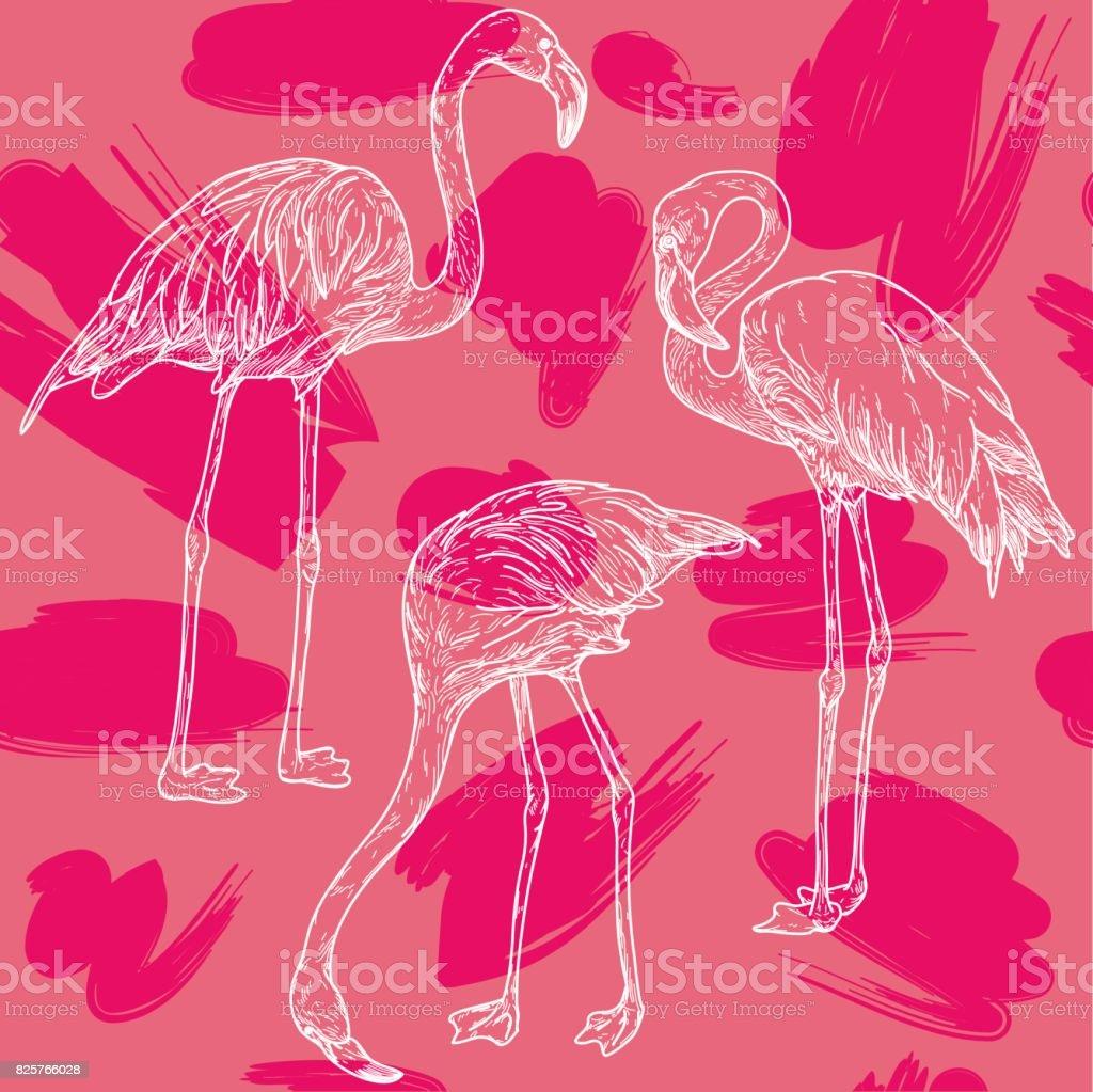 Retro Flamingo Pattern vector art illustration