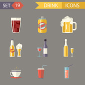 Retro Flat Alcohol Beer Juice Tea Wine Drink Icons and