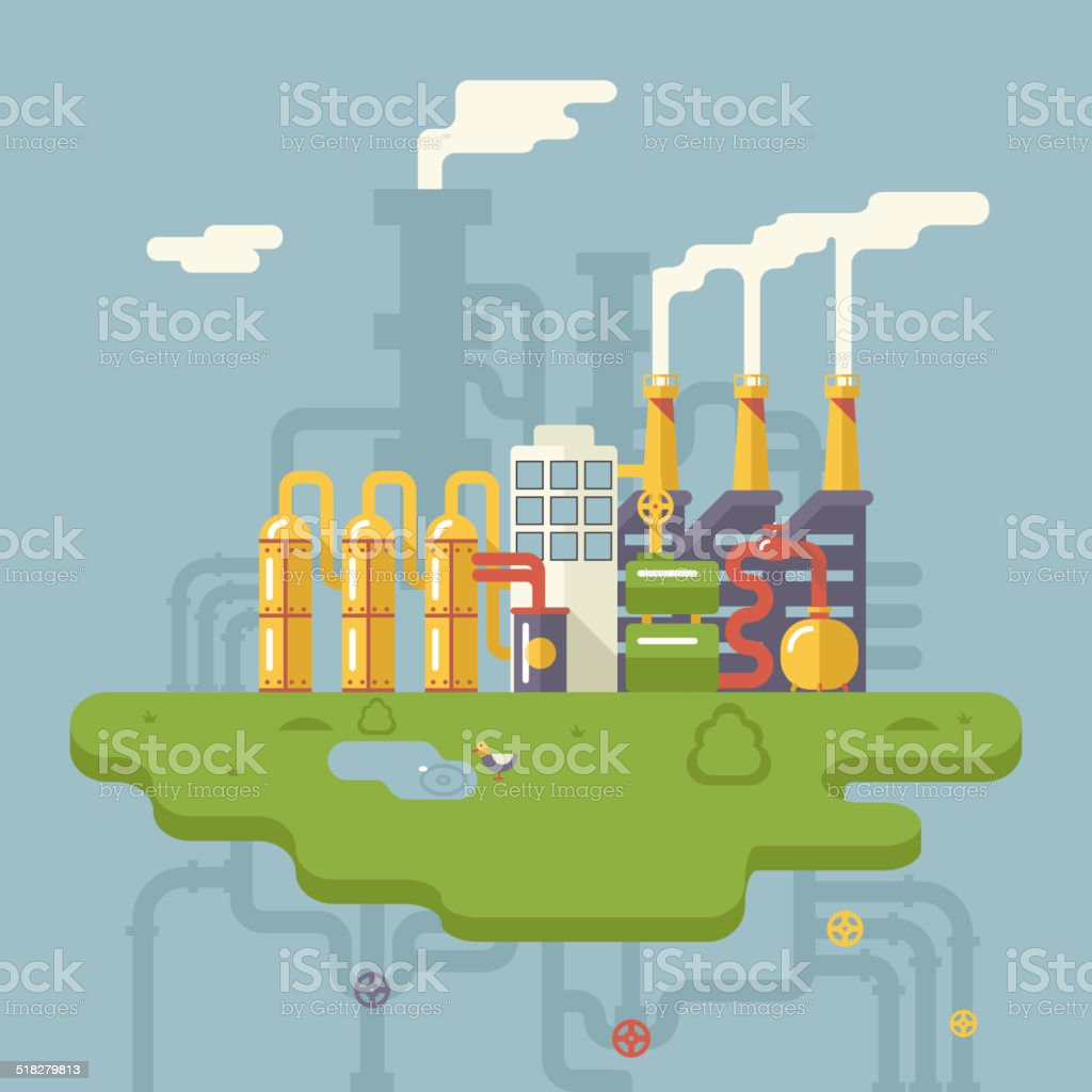 Retro Flat Factory Refinery Plant Manufacturing Products Processing Natural Resources vector art illustration