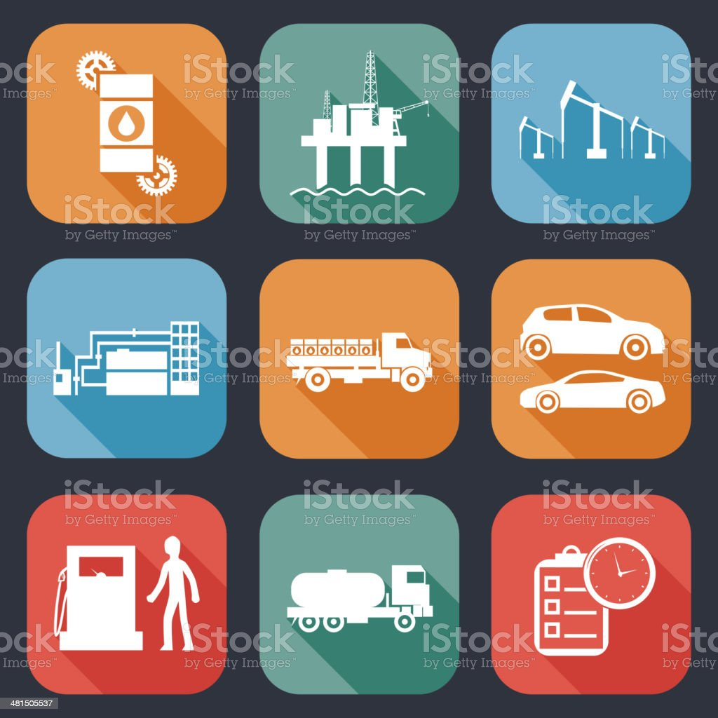 Retro Flat Oil Icons and Symbols Set Vector Illustration royalty-free retro flat oil icons and symbols set vector illustration stock vector art & more images of borehole
