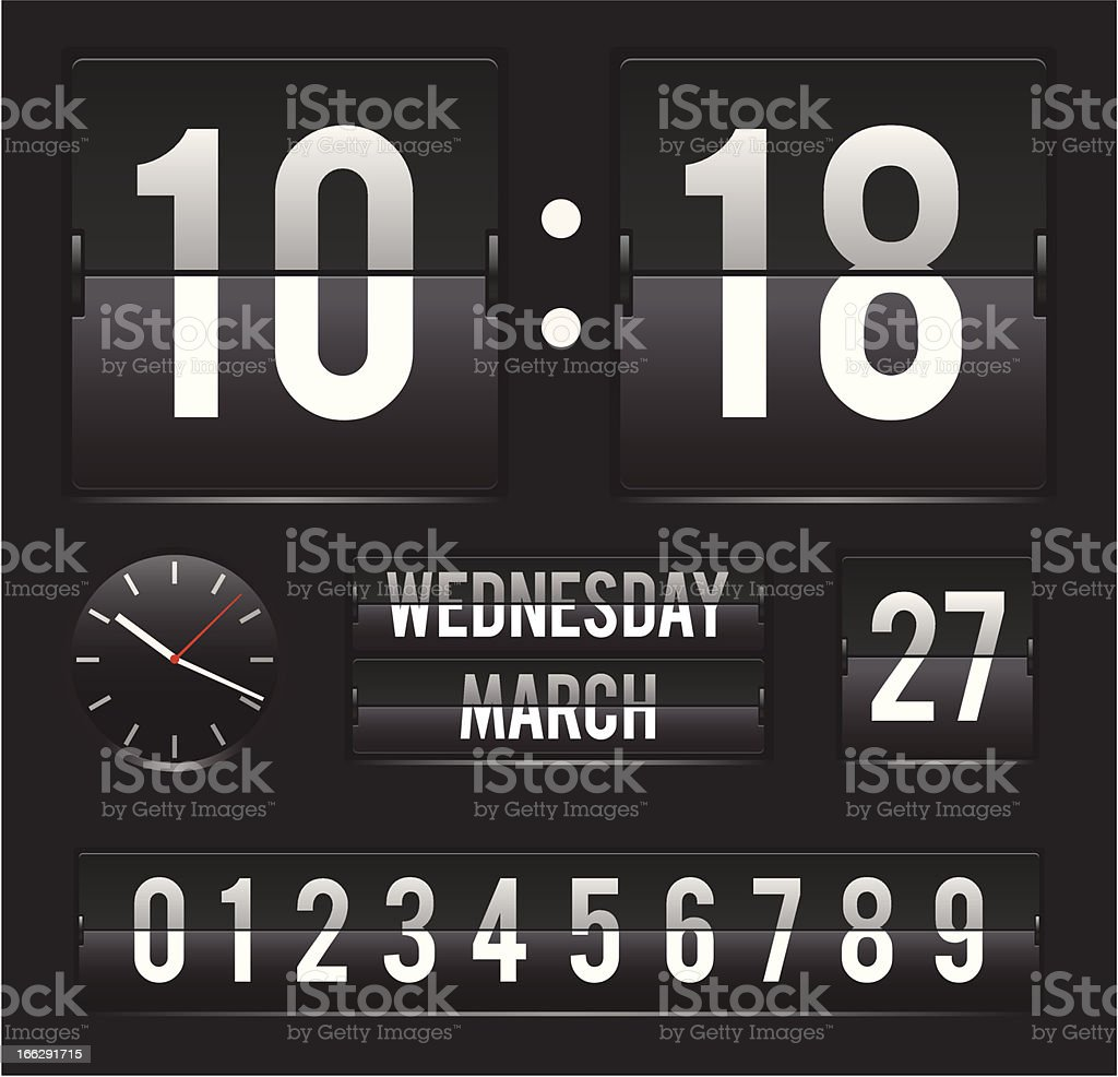 retro flip clock with date and dual timer vector art illustration