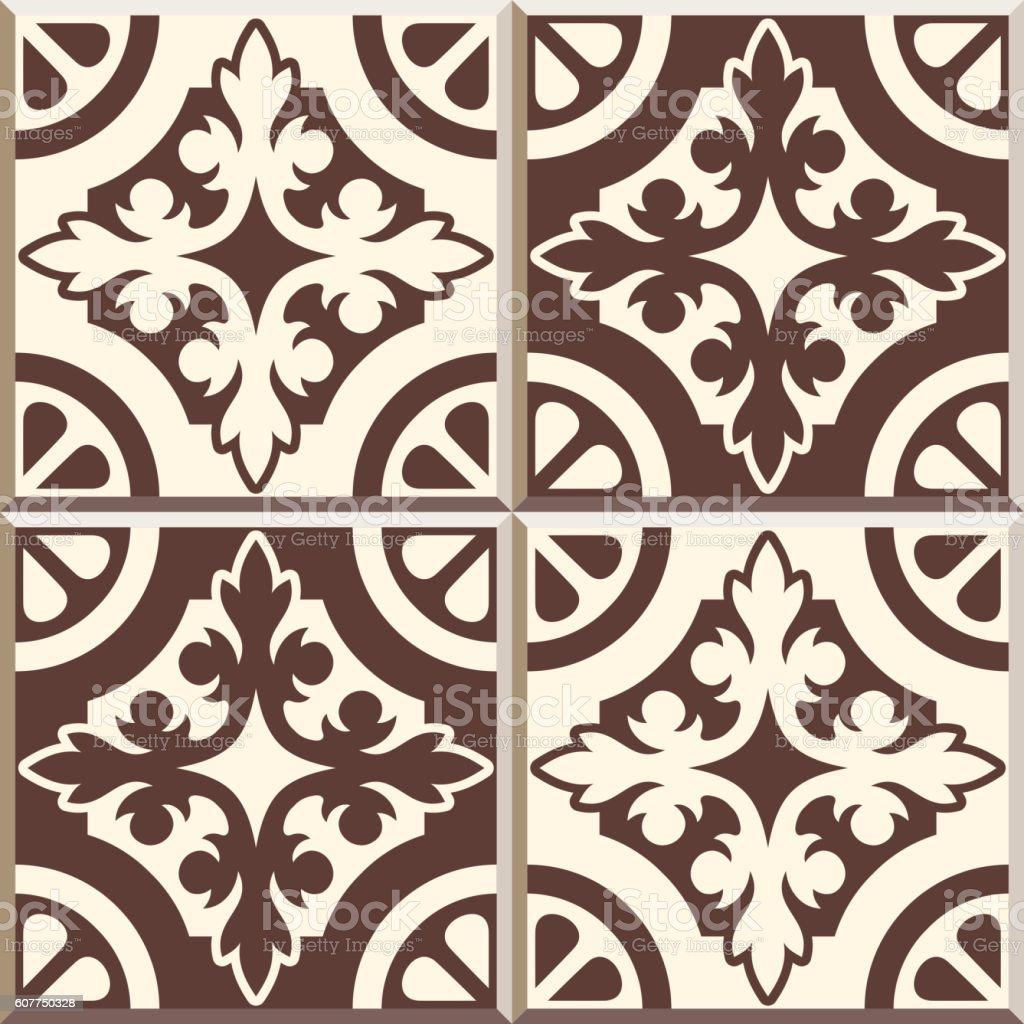 Retro Floor Tiles patern, set of four patterns vector art illustration