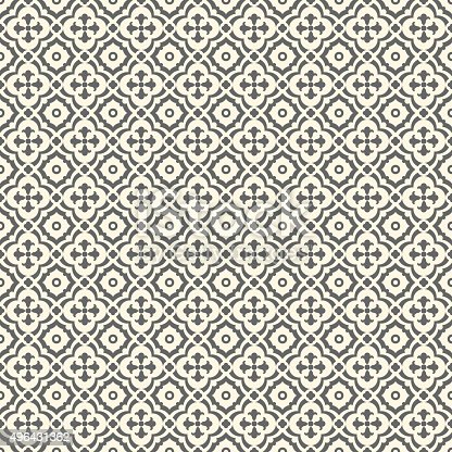 Floor tiles - seamless vintage pattern with quatrefoils. Seamless vector background. Plain colors - easy to recolor.