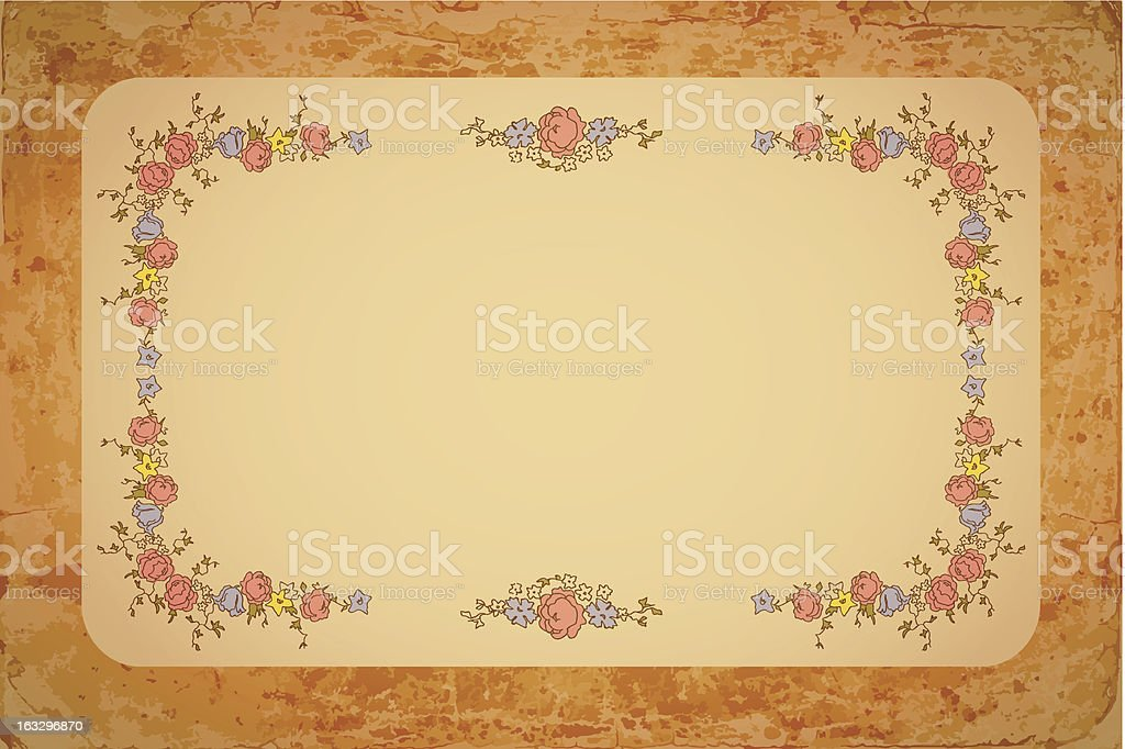 Retro floral card with flowers royalty-free stock vector art