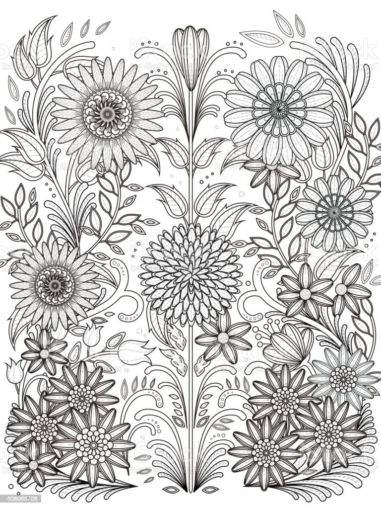 Retro Flores Página Para Colorear - Arte vectorial de stock y más ...
