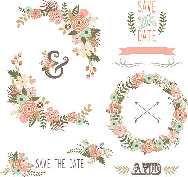 レトロ花柄 elements-イラストレーション - 結婚式点のイラスト素材/クリップアート素材/マンガ素材/アイコン素材