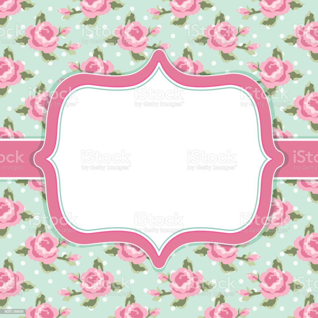 Retro Floral Frame With Roses In Shabby Chic Style Stock Vector Art ...