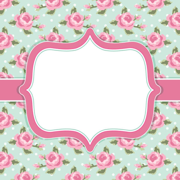 Retro floral frame with roses in shabby chic style Retro floral frame with roses in shabby chic style for your decoration shabby chic stock illustrations