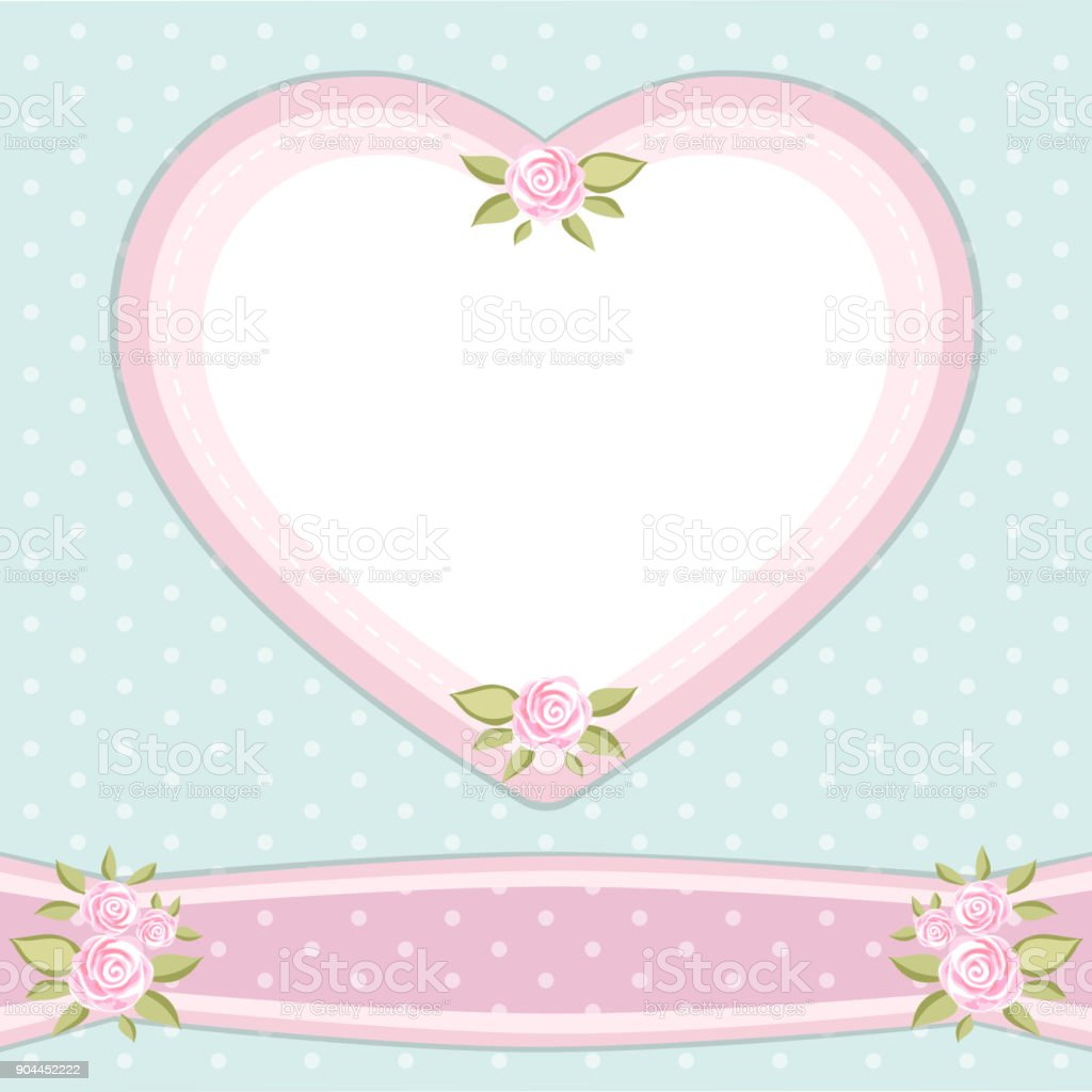 Retro Floral Heart Shape Frame With Roses In Shabby Chic Style Stock ...