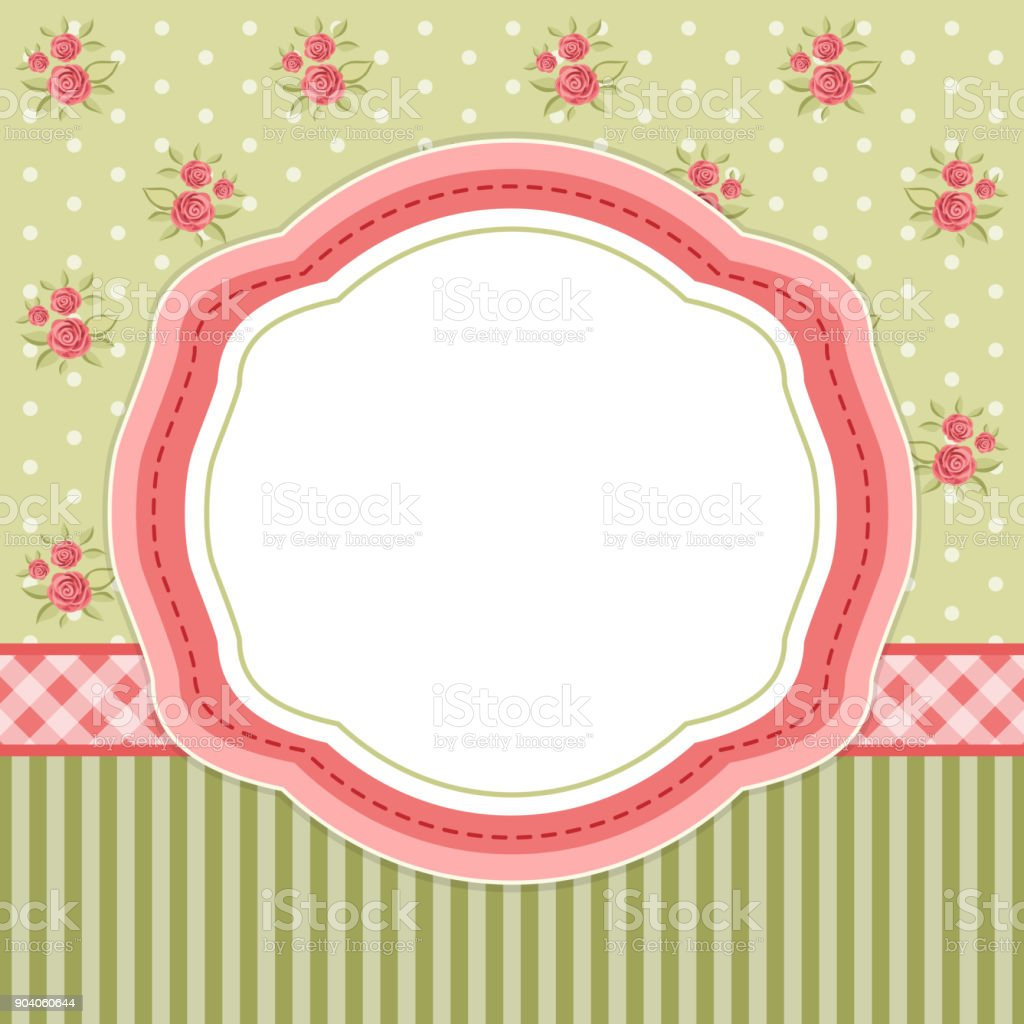 Retro Floral Oval Frame With Roses In Shabby Chic Style Stock Vector ...