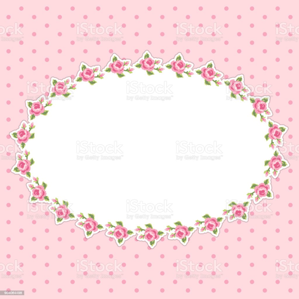 Retrofloral Ovalen Rahmen Mit Rosen Im Shabby Chic Stil Stock Vektor ...