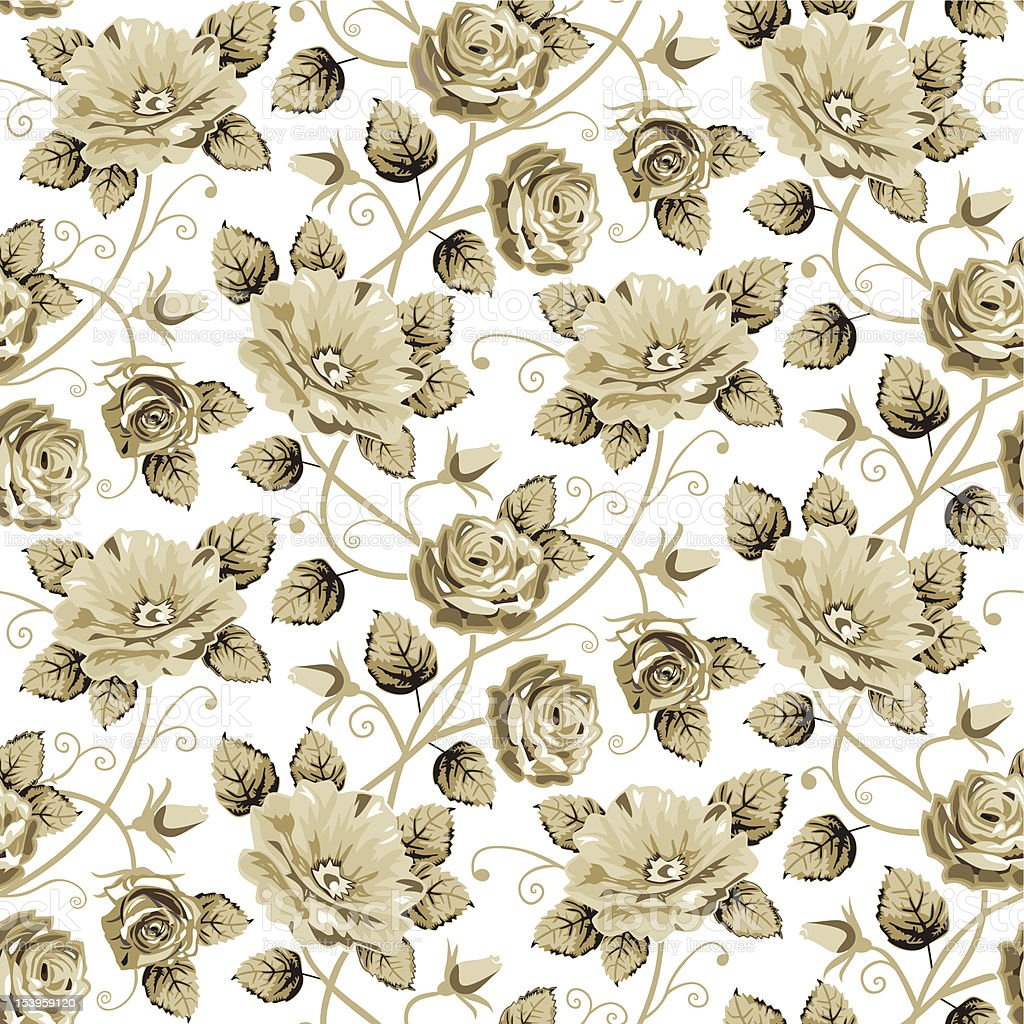 Retro floral pattern vector art illustration