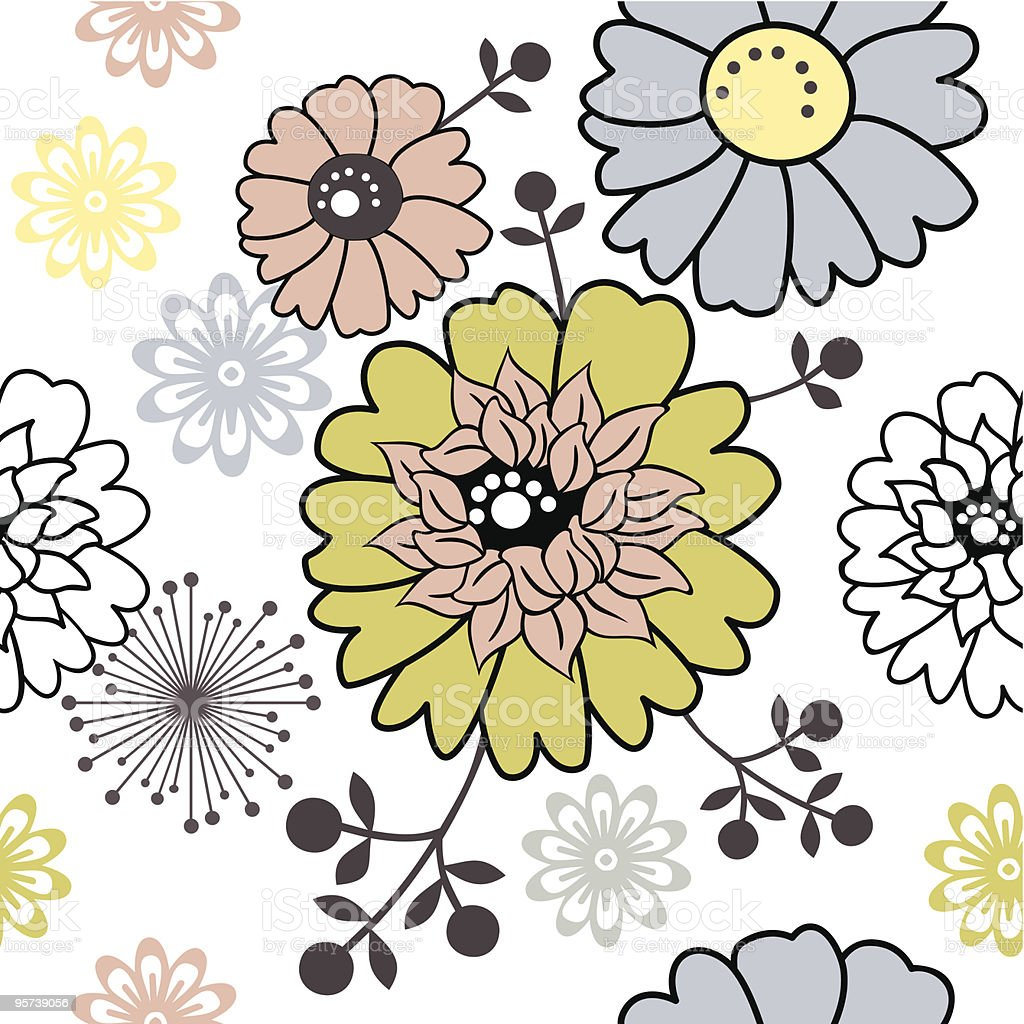 Retro floral seamless background vector art illustration