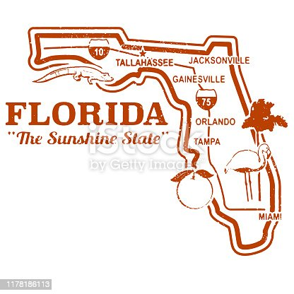 Retro Florida State map stamp