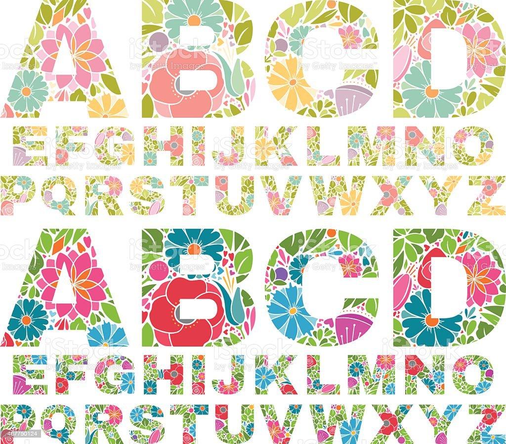 Retro Flower Alphabet Uppercase vector art illustration