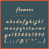 istock Retro Flower Alphabet - Vintage Typeface with Flower Pattern 1306043265