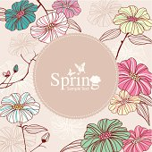 Vector illustration of Retro Flower Background with frame to place text.