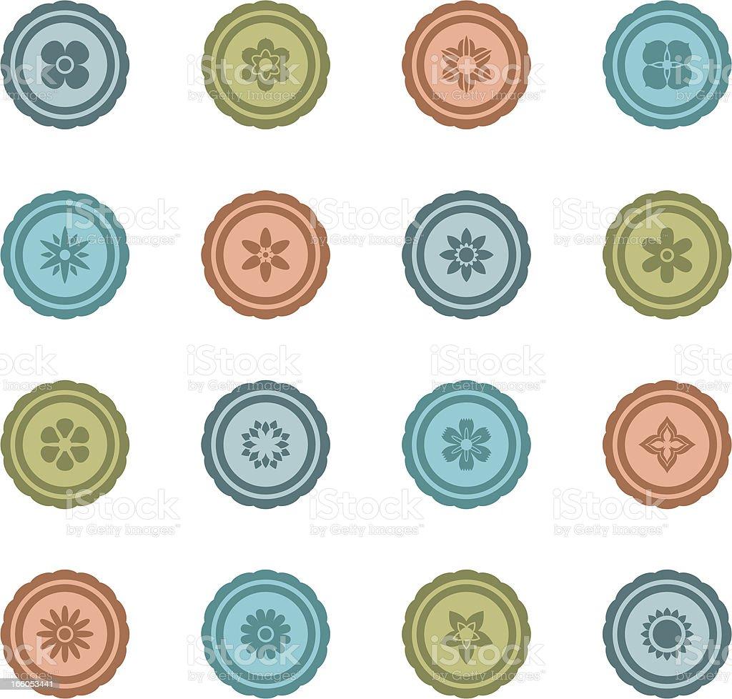 Retro Flower Badges royalty-free stock vector art
