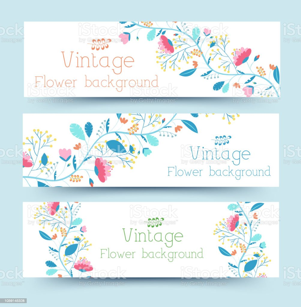 retro flower banners concept. Vector illustration design vector art illustration