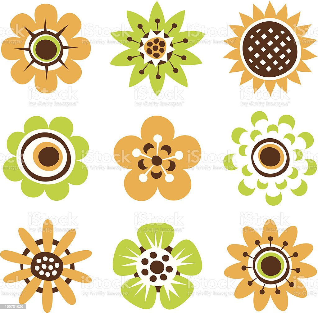 Retro flower design elements royalty-free stock vector art