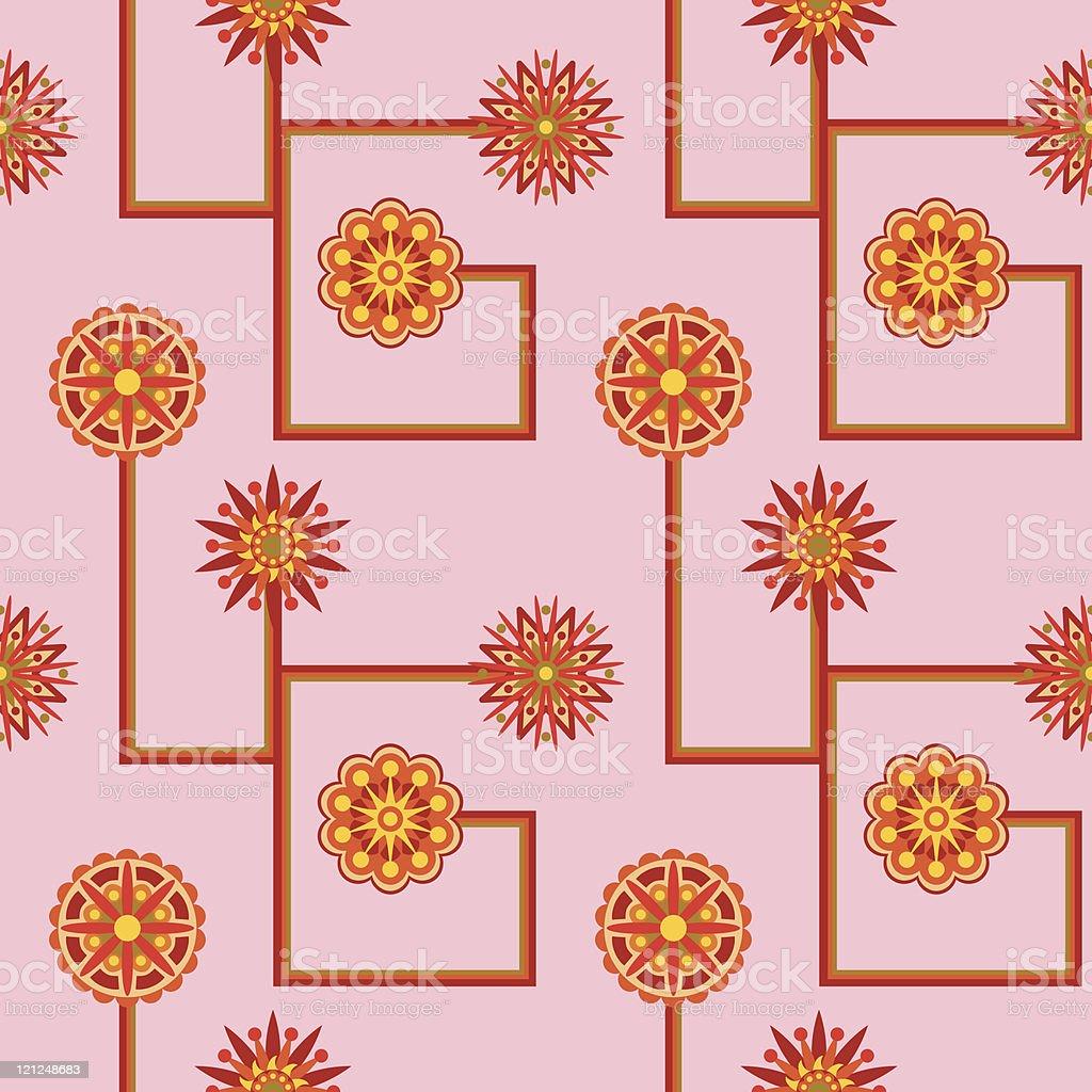 Retro Flower Seamless Wallpaper royalty-free stock vector art