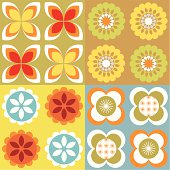 4 seamless funky retro wallpaper tiles with floral designs.