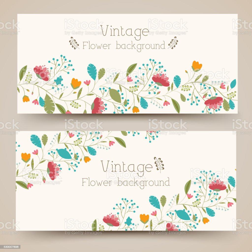 retro Blumen vertikale Banner-Konzept.  Vektor-illustration-design – Vektorgrafik
