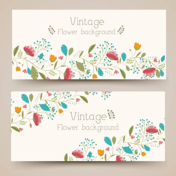 stockillustraties, clipart, cartoons en iconen met retro flower vertical banners concept. vector illustration design - spruitjes