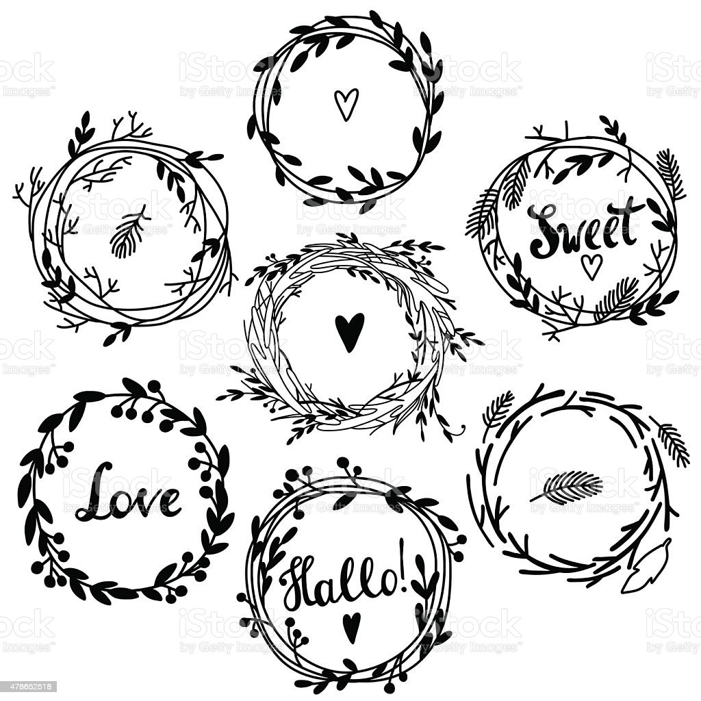 Retro flower wreath vector art illustration
