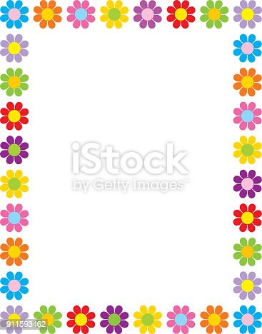 Vector illustration of a frame of colorful retro style flowers.