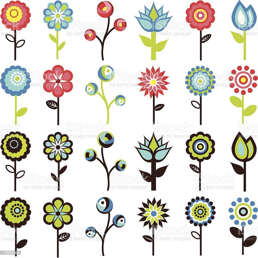 Retro Flowers royalty-free stock vector art