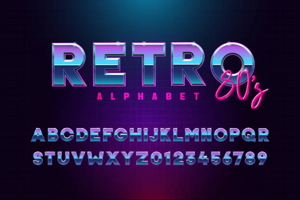 Retro font effect based on the 80s. Vector design 3d text elements based on retrowave, synthwave graphic styles. Mettalic alphabet typeface in different blue and purple colors Vector eps10 typing stock illustrations