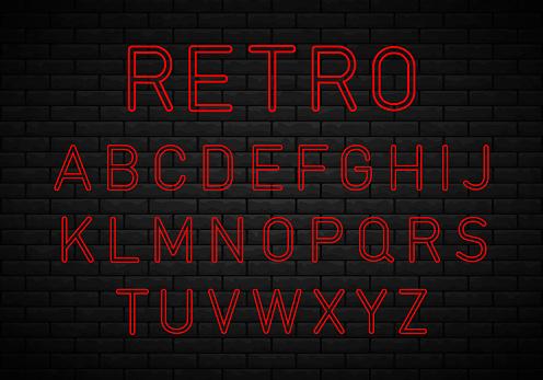 Retro font, neon