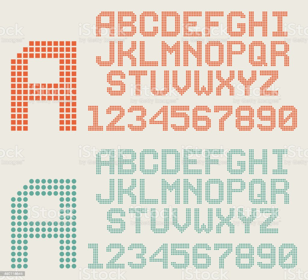 Retro Font Pixel Letters And Numbers Dotted Alphabet Stock Illustration -  Download Image Now