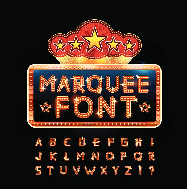 Retro font Retro alphabet set with lamp and stars, vector illustration. temps stock illustrations