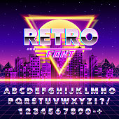 Retro font vintage on the neon city background. Vector illustration