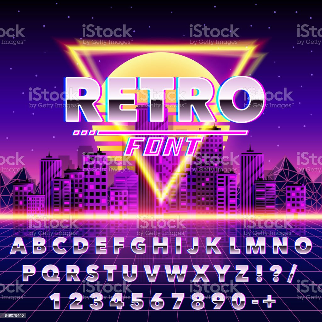 Retro font vintage on the neon city background. vector art illustration