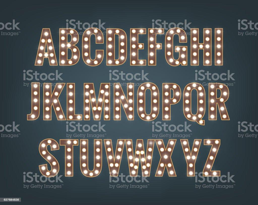 Retro font with light bulbs. Shiny letters vector art illustration