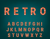 Retro font with light bulbs