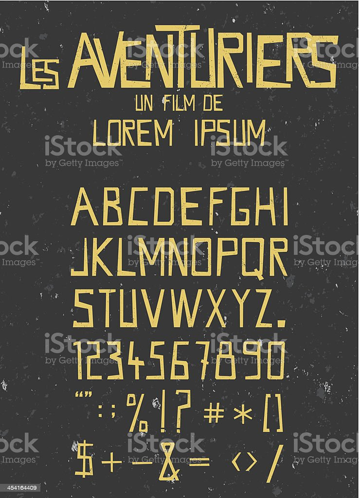 retro font with seamless grunge texture background vector art illustration