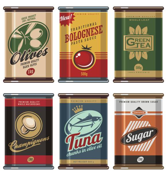 retro food cans design template creative concept - 1940s style stock illustrations