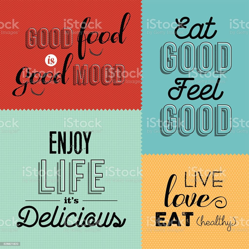 Retro Food Quote Designs Set Of Colorful Labels Stock Vector Art ...