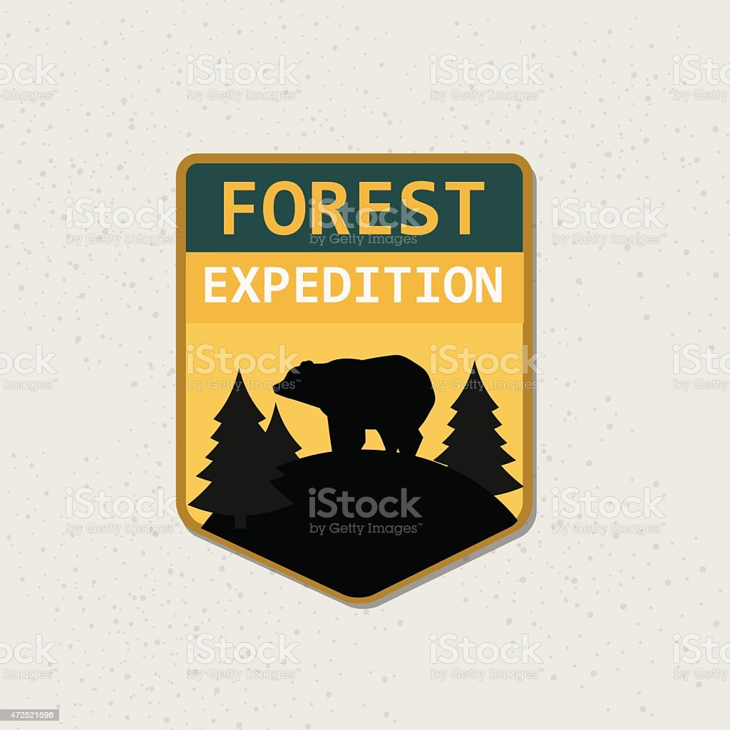 Retro forest expedition logotype. vector art illustration