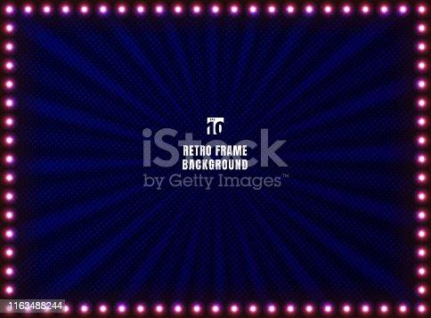 Retro frame and light sign on radial halftone blue background. Vintage style banner. Vector illustration