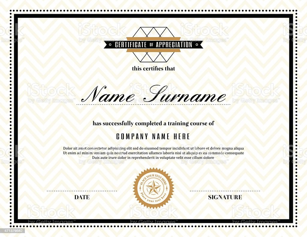 Retro frame certificate of appreciation template stock vector art retro frame certificate of appreciation template royalty free stock vector art xflitez Image collections