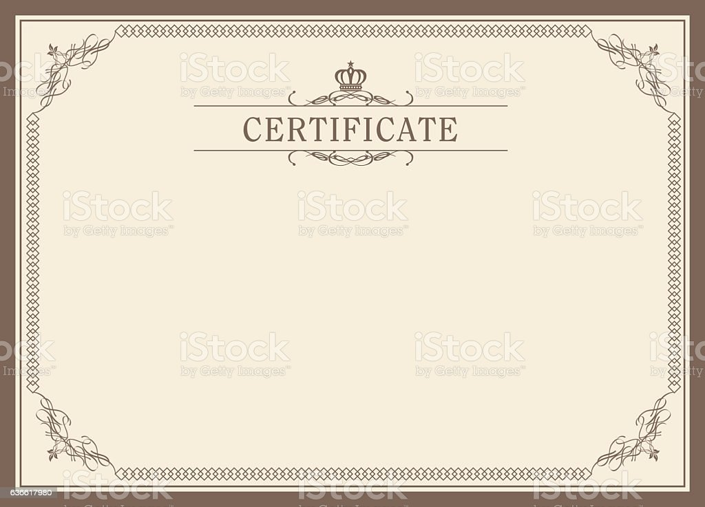 Retro frame certificate template vector stock vector art for Calligraphy certificate templates